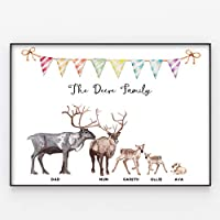 Reindeer Family Print, Wall Art Gift for Home Personalised in A3 or A4