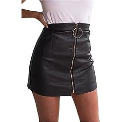 Simplee Apparel A través de una linea de cintura alta con cremallera mujer bodycon mini falda negro de imitacion de cuero de la PU