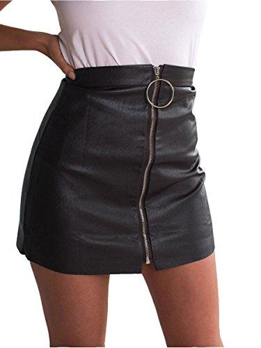 Simplee Apparel les femmes bodycon haut taille zip par ligne a mini jupe noir en cuir imitation kaka