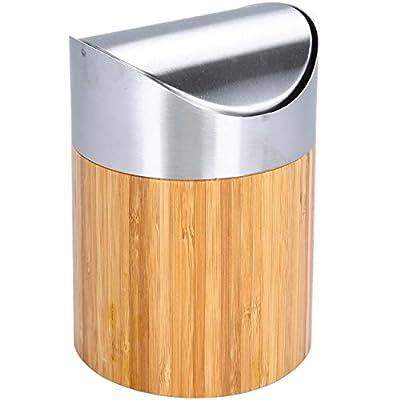 Bambus Tischabfalleimer Oxid7® mit Schwingdeckel