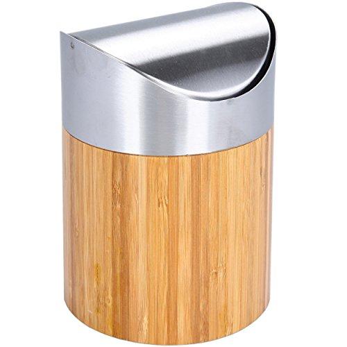 Oxid7® Tischabfalleimer Abfallbehälter Kosmetikeimer Bambus mit Schwingdeckel - Maße (ØxH): ca. 12 x 16,5 cm