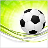 Wallario Magnet für Kühlschrank/Geschirrspüler, magnetisch haftende Folie - 60 x 60 cm, Motiv: Fußball - grün weiße Wellen Muster
