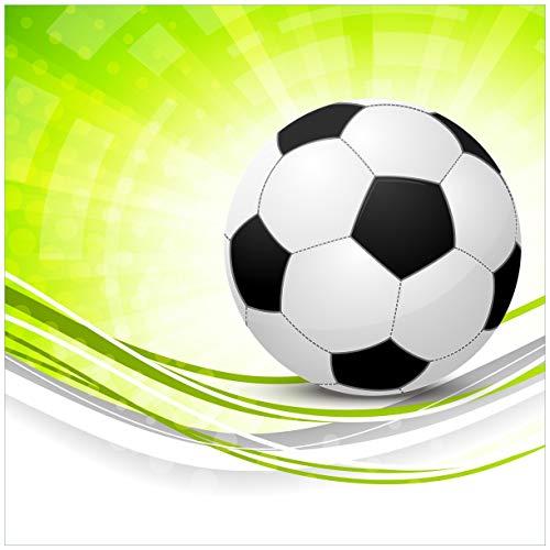 (Wallario Möbeldesign/Aufkleber, Geeignet für Ikea Lack Tisch - Fußball - Grün Weiße Wellen Muster in 55 x 55 cm)