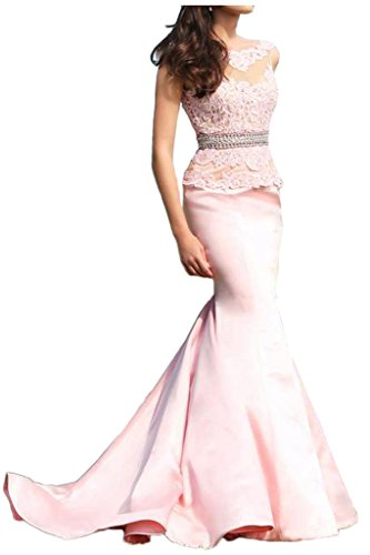 Damen Satin Sexuell Lang Merrjunfrau-Still Paillette Aermellos Applikation Abendkleider Partykleider Rosa
