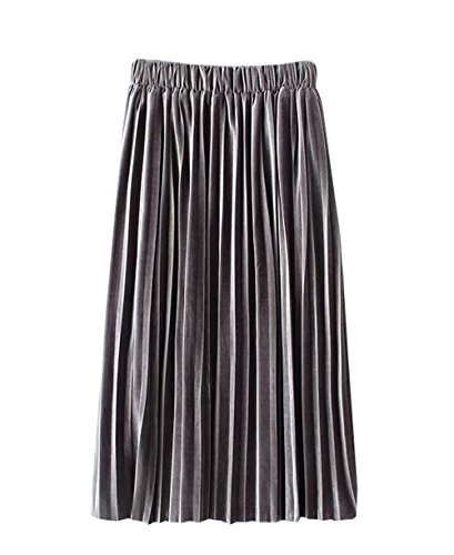 COCO clothing Donne A-Line Maxi Gonna Con Coulisse Colore Solido Casual Comfy Gonna A Balze Di Maglia Lunga Flared Knitted Skirt Moda ed Slim Kilt Grigio