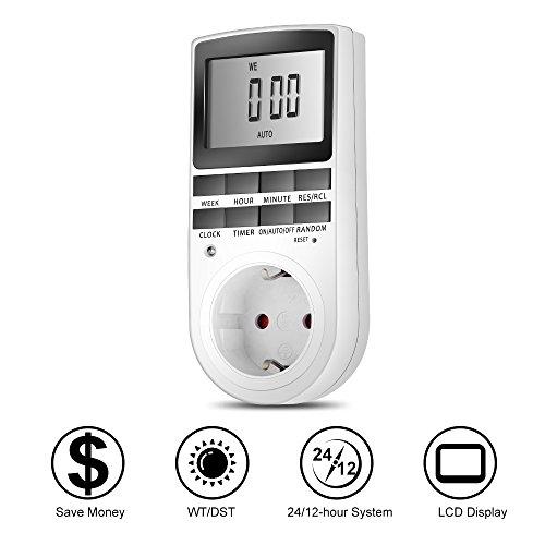 Meer Presa Temporizzata, Spina Elettrica Digitale Programmabile, Timer per 24 ore / 7 Giorni, Presa Elettrica, Energicamente Efficace per le luci e per Tutti i Dispositivi Domestici