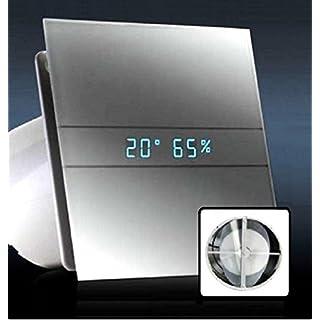 AllCATA / 00900200 / EN 100 Hygro Weiß Matt / Echtes Glasfront Ventilator / Lüfter / Badlüfter / Timer / Nachlauf / Hygrostat / Feuchtigkeit Sensor / LED Display / Glasfront / 115 m3/h / leise 31dB / 8W / Kugellage / V2 Generation (mit Rückschlagventil)
