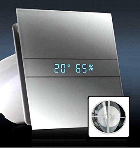 AllCATA / 00900200 / EN 100 Hygro Weiß Matt / Echtes Glasfront Ventilator / Lüfter / Badlüfter / Timer / Nachlauf / Hygrostat / Feuchtigkeit Sensor / LED Display / Glasfront / 115 m3/h / leise 31dB / 8W / Kugellage / V2 Generation (mit Rückschlagventil) -