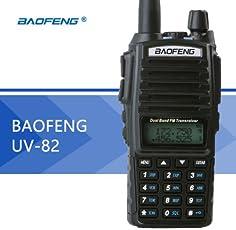 Leoie UV-82 Dual Band 2-Way Radio Transceiver, Interphone 136-174MHz Vhf & 400-520MHz UHF (Black)
