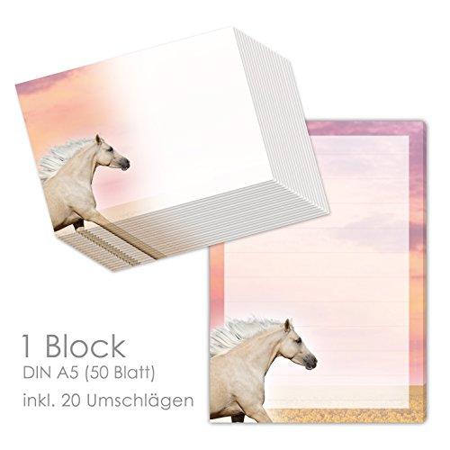 Briefpapier Set mit Pferde für Mädchen - Schreibblock/Briefblock
