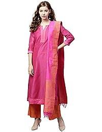 d5e7a6d1c6 Jaipur Kurti Women Pink   Orange Solid Straight Chanderi Kurta with Palazzo  Dupatta