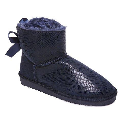 La Modeuse Boots en Suédine Effet Reptile Bleu