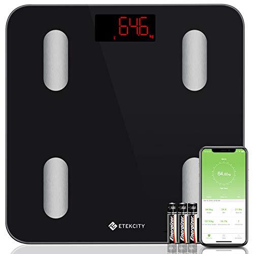 Etekcity HDC2-ORC-Etek–Báscula Báscula con App grasa corporal (Bluetooth Smart Cocina–Báscula para 13Cuerpo datos Peso, BMI etc hasta 180kg, Color negro