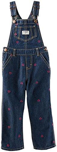 OSHKOSH B'gosh Latzhose mit Herzen bestickt Jeans Mädchen girl pant Jeanshose Baby (0-24 Monate) (74/80)