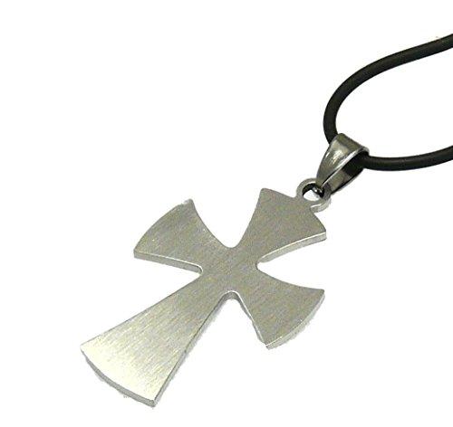 Schwarzes Kautschukband mit einer gebürsteten Metall Kreuz / Kruzifix Anhänger - Verstellbare - Style A