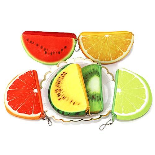 Kreative Fruchtgeldbörse für Kinder, halbrund, Plüsch, Münzfach, Schlüsselhalter, Clutch Taschen, Kopfhörer, Datenkabel, Aufbewahrungspaket, Geschenk für Jungen und Mädchen (6 Stück) -