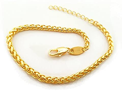 Source 7 inch 18ct Gold Braided Wheat Chain Bracelet +1 inch extender chain