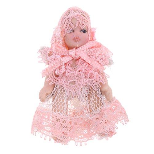 Baoblaze Miniatur Porzellanpuppe Baby Puppe In Spitzenkleid für 1/12 Puppenhaus Deko - 5cm - Rosa