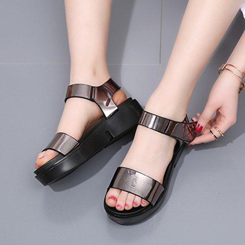 Estate Sandali 4cm studenti femminili sandali estivi piano delle scarpe confortevoli con 3 colori Colore / formato facoltativo 1001