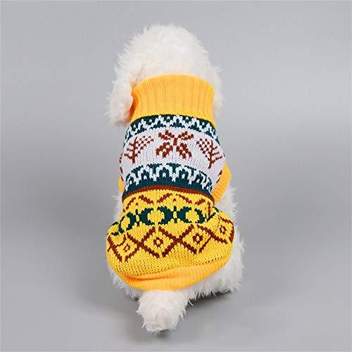 Herbst Winter Hund Kleidung Rollkragenpullover warme weiche und komfortable Schneeflocke Weihnachten for Teddy Small Medium Dogs Pet Supplies (Color : Yellow, Size : M) -