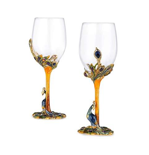 LinLiQiao Europäisches Kreatives Rotweinglas-Set, Kristallglasmaterial, Geeignet für Individuelle Geschenke für Zuhause, 7.9 * 22cm / 3.1 * 8.7in, 2 Becher/Dekanter / 3 Sätze (Ausgabe : 2 goblets) Crystal Goblet Set
