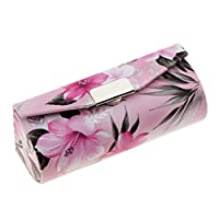 Homyl Leather Lipstick Case Holder With Mirror,Chinese Traditional Flower Design Makeup Jewelry Holder Box Lip Balm Carry Case Travel - Light Pink, as described