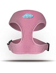 CURLI Brustgeschirr Plush Basic AIR-MESH pink für Hunde L (31 - 36 cm)