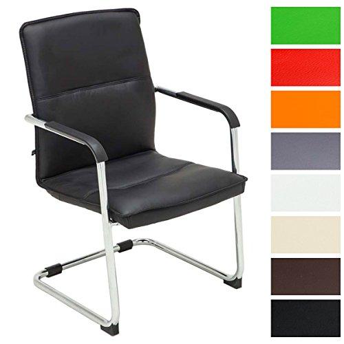 CLP Freischwinger Seattle mit Armlehne I Konferenzstuhl mit hochwertiger Polsterung und Kunstlederbezug Schwarz