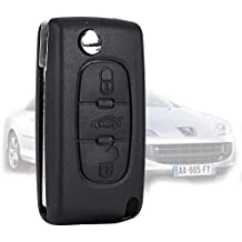 3 Boton Carcasa de Mando Key Llave Coche para Peugeot 407/407 SW