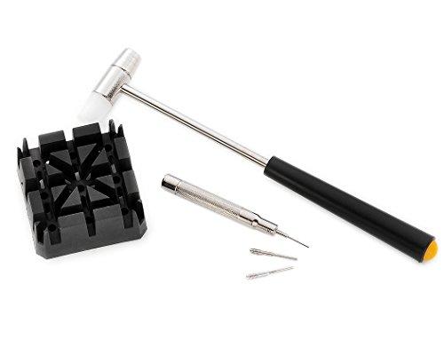 Shopready Kit de reparación de la herramienta de extracción de clavija de enlace de la banda de reloj universal con soporte de martillo