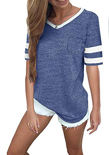 Ehpow Damen Kurzarm T-Shirt V-Ausschnitt Casual Sommer Lose Shirt Oversize Oberteile (Medium, Blau)