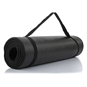 Yoga and Exercise Mat for Men and Women, ExtraThick NBR Foam Mat with Carrying Strap by The True Mat (10mm Thick; XL Size: 6 Feet x 2 Feet)