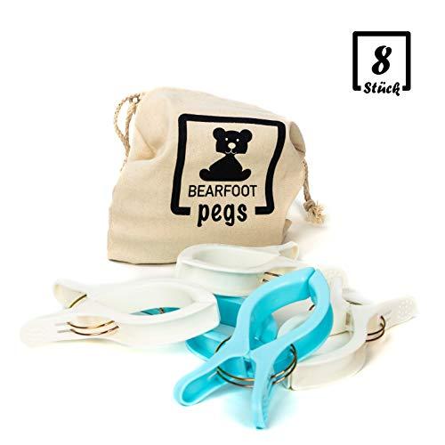 BEARFOOT 8 XXL Wäscheklammern inkl. Beutel - Handtuchklemmen, Strandtuchklammern, Towel Clips,...
