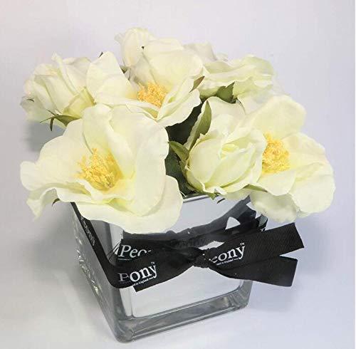suluxin Blumen-Weinlese-Künstliche Hauptdekorationweiße Hartriegel-Rosen In Einer Spiegelwürfelvase Mit Einem Pfingstrosenband. (Hartriegel-künstliche Blume)