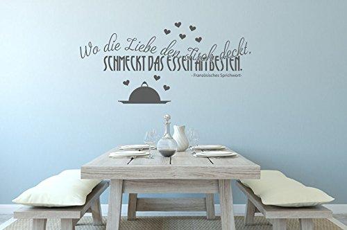 Wandtattoo Küchen Sprüche Wo die Liebe den Tisch deckt, schmeckt das Essen am besten Nr 4 Größe 140x67, Farbe Gold
