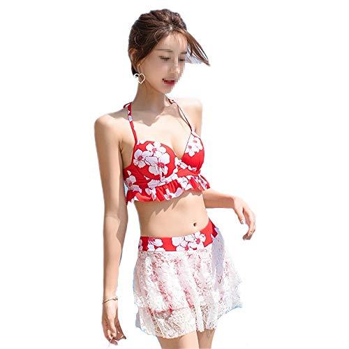 LEYOUDIAN YY Badeanzug dreiteilige Split Badeanzug weiblich konservativ kleine Brust schlanke Abdeckung Bauch sexy Bikini Hot Spring niedlichen Japaner (Size : M) (Modelle Hot Niedlichen)