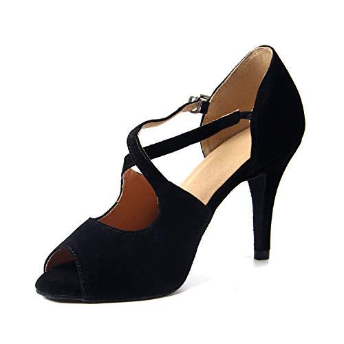 Naudamp Zapatos de Baile Latino de satén para Mujer Salón de Baile Salsa Tacón de Aguja Vals Tango...