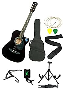 Jixing Black Acoustic Guitar With (Foldable Guitar Stand,Tuner,Capo,Strap,Bag,Strings,Picks)