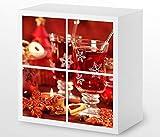 Set Möbelaufkleber für Ikea Kallax 4 Fächer/Schubladen Weihnachten Tee Tisch Kat20 Küche rot Aufkleber Möbelfolie sticker (Ohne Möbel) Folie 25H131