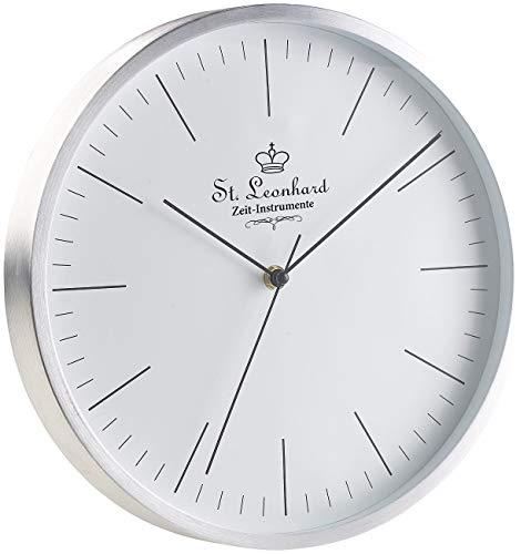 St. Leonhard Design-Funkuhr: Moderne Aluminium-Funk-Wanduhr, flüsterleises Sweep-Uhrwerk, Ø 31 cm (Quarz-Funkuhr)