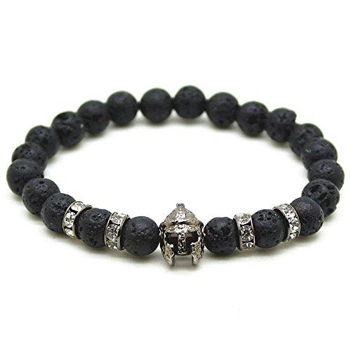 cameleon-shop Armband tibetischen ausziehbar Perle?Lava Steine 8mm?Helm Krieger römischen schwarz?Zirkonia kubisch?Länge 17cm