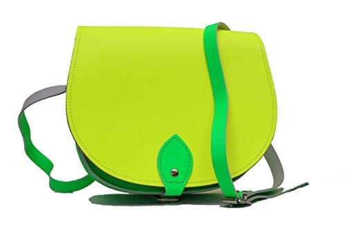 Neon Jaune et Vert Deux couleurs / Dual / Contraste / de cuero real Cuerpo Cruz Saddle Sac ˆ main avec sangle rŽglable et fermeture ˆ boucle. Disponible dans de nombreuses combinaisons