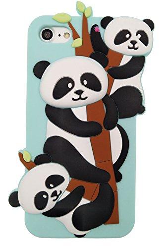 "iPhone 7 4.7"" Hülle, BENKER Hochwertig Schlagfeste und Kratzfeste Weich Silikon Kreativ 3D Cartoon Telefon Fall - Regenbogen Panda"