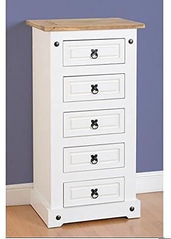 Mercer's Furniture Corona étroit Blanc 5tiroirs–Design économie d'espace–Hauteur Corps qui peut contenir 5spacieux tiroirs–finition deux tons élégant–fabriqué à partir de haute qualité en pin massif