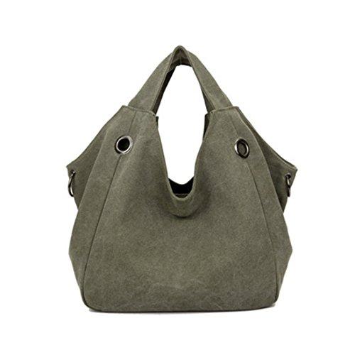 Handtasche, iTECHOR Damen Modische Spezial Design Leinwand Canvas Große Kapazität Handtasche Einkauftasche Hobotasche Army Green