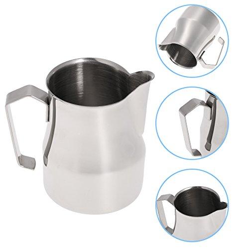 asentechuk® Edelstahl Profi Milch aufschäumen Krug Kaffee Cappuccino Latte Krug Messbecher 350ml silber - 3