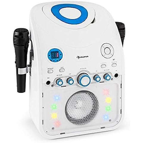auna StarMaker equipo de karaoke Bluetooth (2 micrófonos, reproductor CD, salida A/V, efectos LED multicolor) - blanco
