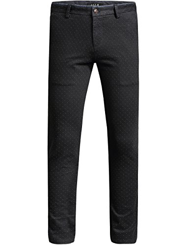 SSLR Pantalones para Hombre Slim Fit Largos Casuales Negocios a Lunares (W31, Negro)