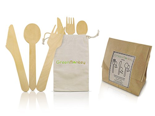 Disposable Eco Friendly Wooden Cutlery Sets By Green Monkey - Zero Plastic Waste & 100% ZERO PLASTIC USED IN OUR PACKAGING - Natural Compostable Organic Birch Wood - 50 Knives, 50 Folks, 50 Spoons - FREE TRAVEL BAG - Perfect Utensils for BBQ's, Kids Parti