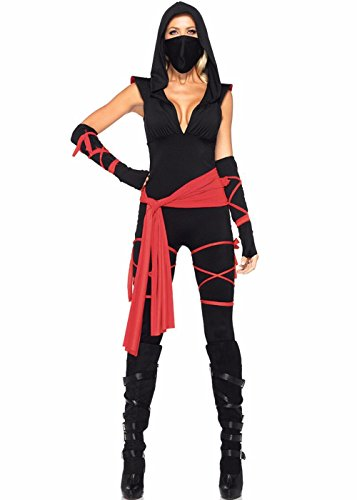 Frauen Ninja Catsuit Halloween Party Cosplay Kostüm Masked Warriors Sexy Overall (Halloween Sexy Customes)